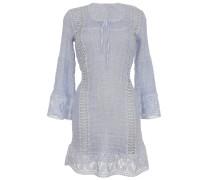 Kleid aus Leinen-Mix mit Makramee-Spitze in Hellblau