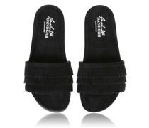 Sandalen aus Leder mit gearbeiteten Fransen im mondänen Schwarz