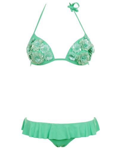 Push up Bikini mit Pailletten- Blumen in Grün