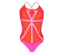 Badeanzug mit Mesh-Einsätzen in rot/pink