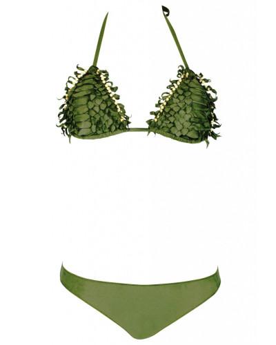 Padded Triangle Bikini in Lerderoptik grün
