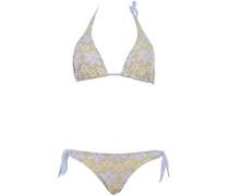 Triangle Bikini aus Makramee-Spitze in Hellblau auf Gelb ideal für B/C Cups