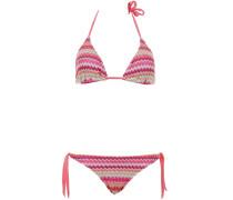 Gefütterter Triangle Bikini mit Streifenmuster in Koralle-Pink-Mint