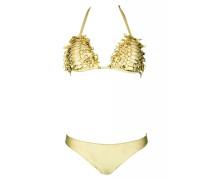 Padded Triangle Bikini in Lerderoptik creme