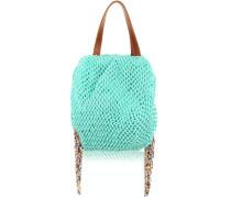 Robinson Handtasche aus Baumwolle in Türkis mit Flechtarbeit und Perlenfransen