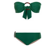 Padded Bandeau Bikini mit Ringen in grün