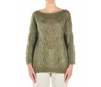 Leichter Pullover mit Zopfstrickmuster