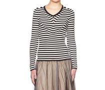 Rippstrick-Pullover mit Streifen