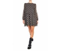 Volant-Kleid mit geometrischem Print