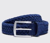 Cintura blu intrecciata scamosciata