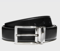Cintura reversibile mista nera/marrone
