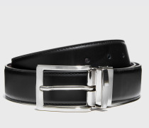 Cintura Reversibile Liscia Nera/Marrone