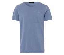 Herren Polo Shirt Rundhals Blau Gr. S