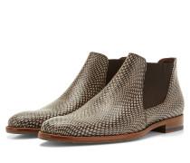 Graubraune Leder Chelsea Stiefel