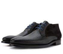 Schwarze Herren Leder Schnürstiefel Mit Aufdruck