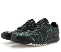 Schwarz Grüne Leder Sportschuhe In Einem Schlangenaufdruck