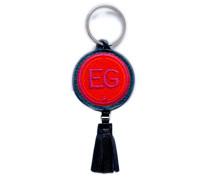 Schlüsselanhänger INITIALEN · rot/pink · mit Tassel