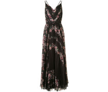 Langes Kleid mit Blumen-Print - Schwarz