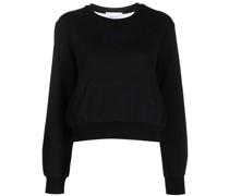 Sweatshirt mit semi-transparentem Einsatz - Schwarz