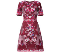 floral short sleeve cocktail dress - Rot