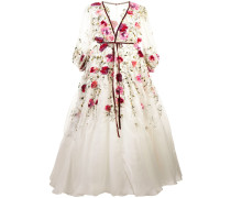 flared floral gown - Weiß