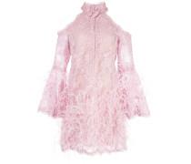 Kurzes Kleid mit Federn - Lila