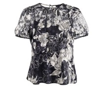 Kleid mit Blumen-Print - Schwarz
