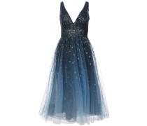 Kleid mit tiefem V-Ausschnitt - Blau