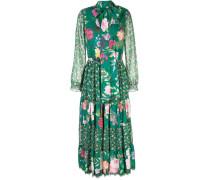 Kleid mit Blumen-Print - Grün