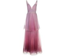 Gestuftes Kleid mit V-Ausschnitt - Lila