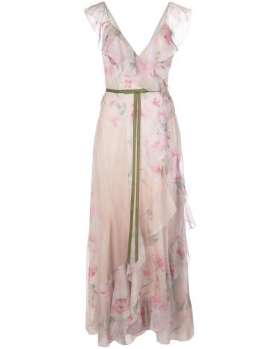 Langes Kleid mit Blumenmuster - Rosa