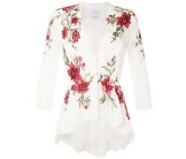 Bluse mit Blumenstickerei - Weiß
