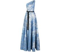 One-Shoulder-Kleid mit Print - Blau