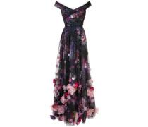 Abendkleid mit Blumenapplikationen - Schwarz