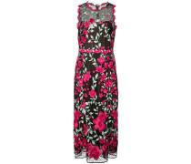Kleid mit Blumenapplikationen - Schwarz