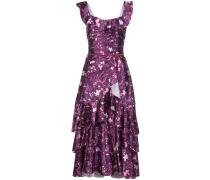 Langes Kleid mit Blumenmuster - Lila