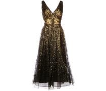 Ausgestelltes Kleid mit Pailletten - Gold