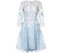 floral embroidered mesh dress - Blau