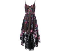 Asymmetrisches Kleid mit floralen Stickereien - Schwarz