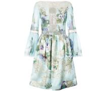 Florales Kleid mit gerafften Details - Blau