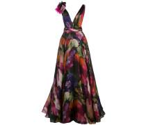 Abendkleid mit Blumenmuster - Mehrfarbig
