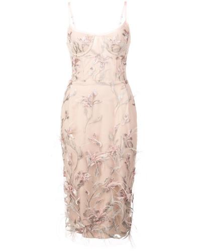 Kleid mit Stickerei - Rosa