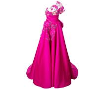 Florales Abendkleid mit einschultrigem Design - Rosa & Lila
