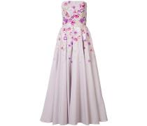 Schulterfreies Kleid mit floralem Print