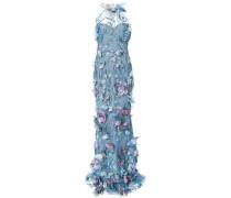 embroidered floral-appliquéd gown - Blau