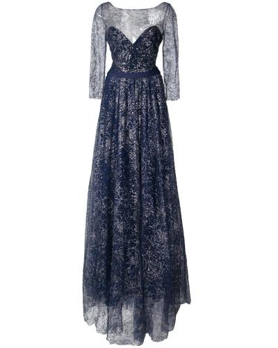 flared embroidered maxi dress - Blau