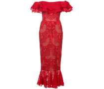lace-embroidered midi dress - Rot