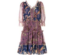 Gesmoktes Kleid mit Blumen-Print - Violett