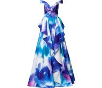 Schulterfreie Robe mit Print - Blau