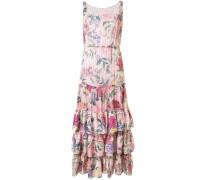 Geblümtes Kleid mit Rüschen - Mehrfarbig